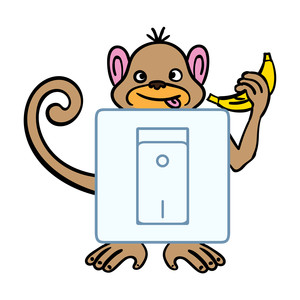 light switch sticker design - happy money with banana