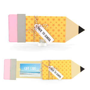 pencil shaped gift card holder