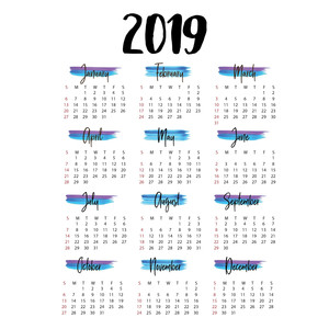 2019 brush strokes annual calendar