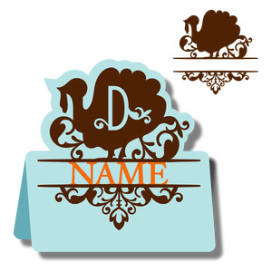 monogram place card & nameplate - turkey d