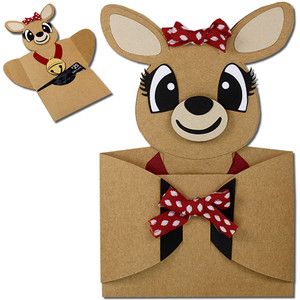 girl reindeer hug gift card holder