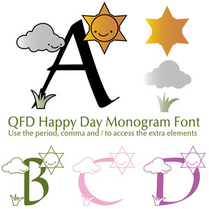qfd happy day monogram font