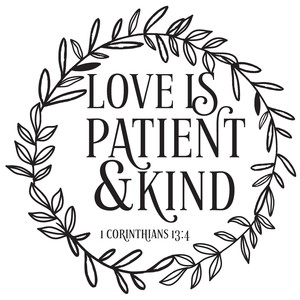 love is patient & kind wreath
