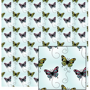 butterflies on blue pattern