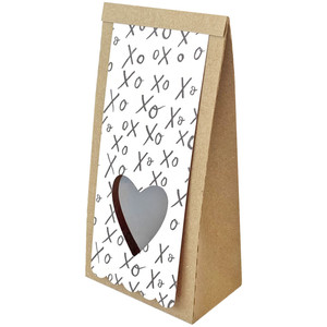 self standing bag with heart cut out tag
