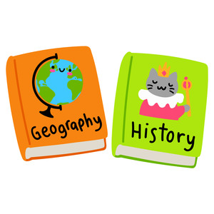 kawaii history and geography school textbooks