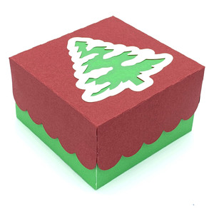 window lid box with christmas tree