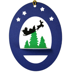 santa's trip 3d oval hanging ornament
