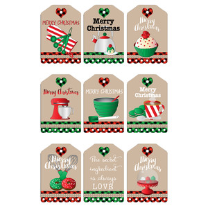 christmas baking-themed tags