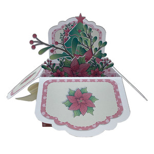 old-fashioned pointsettia pop up card in a box