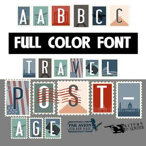travel postage color font