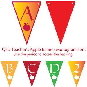 qfd teacher's apple banner monogram font