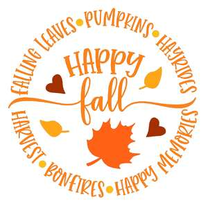 happy fall circle design