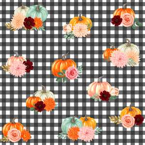 pumpkins and flowers on gingham