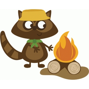 raccoon with campfire