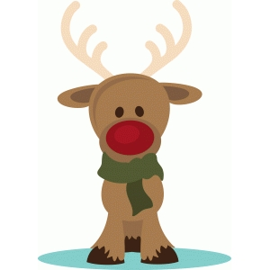 red nose reindeer with scarf