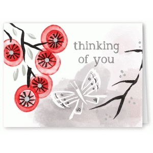 thinking of you watercolor branch and butterfly card