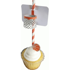 basketball straw topper