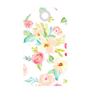 cute spring watercolor flower gift tag