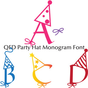 qfd party hat monogram font