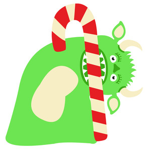 candy cane monster: crunch