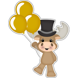 new years moose holding balloons