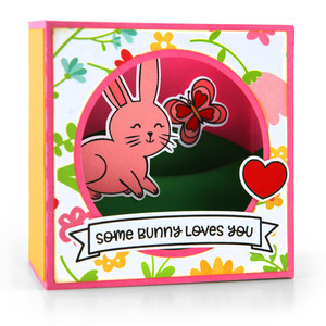 shadow box card scene valentine bunny