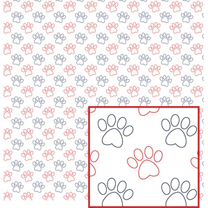 red, white and blue paw pattern