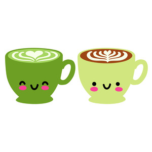 kawaii latte and matcha latte