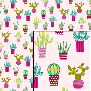 cactus on pink seamless pattern
