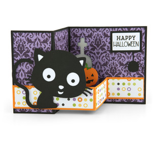 pop up box card halloween cat