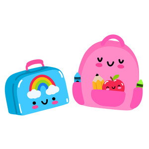 kawaii lunchbox and backpack