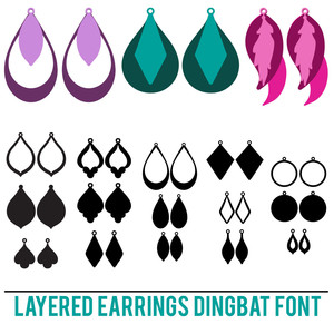 layered earrings dingbat font