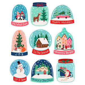 christmas snowglobe stickers