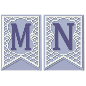 pennant lattice card letters m n