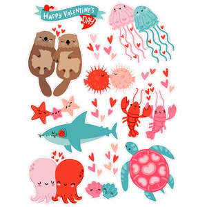 under the sea valentine's day stickers