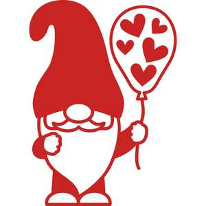 gnome balloon with hearts