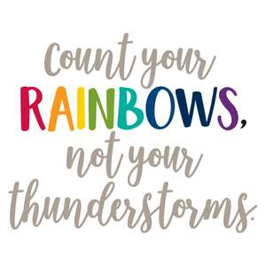 count your rainbows not your thunderstorms
