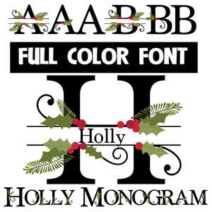 holly monogram banner color font