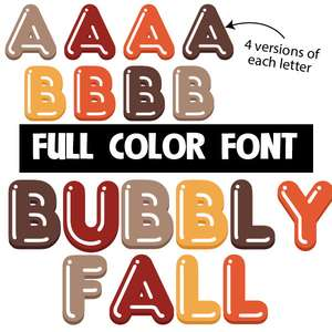 bubbly fall color font
