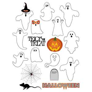 halloween ghosts planner stickers
