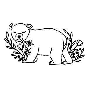 polar bear with flowers