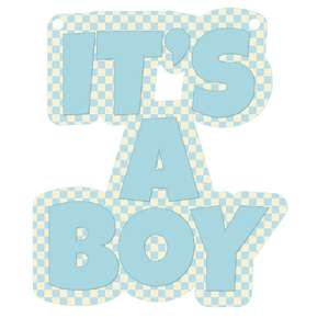 it's a boy banner piece - blue gingham