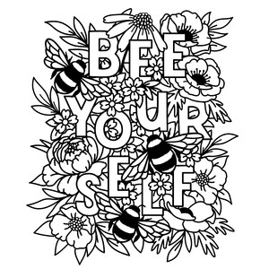 be yourself floral coloring page