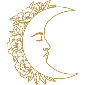moon with face and flowers