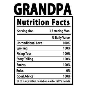 grandpa nutrition facts label