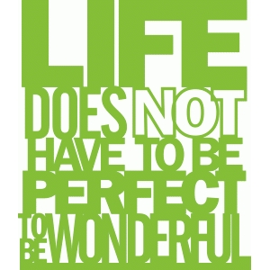 'life does not have to be perfect to be wonderful' phrase