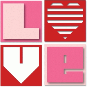 'love' word blocks