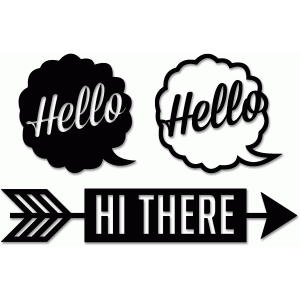 fancy pants designs 'hello/hi' talk bubble arrow set