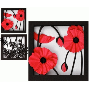 3d poppy shadow box
